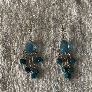Turquoise blue and silver earrings
